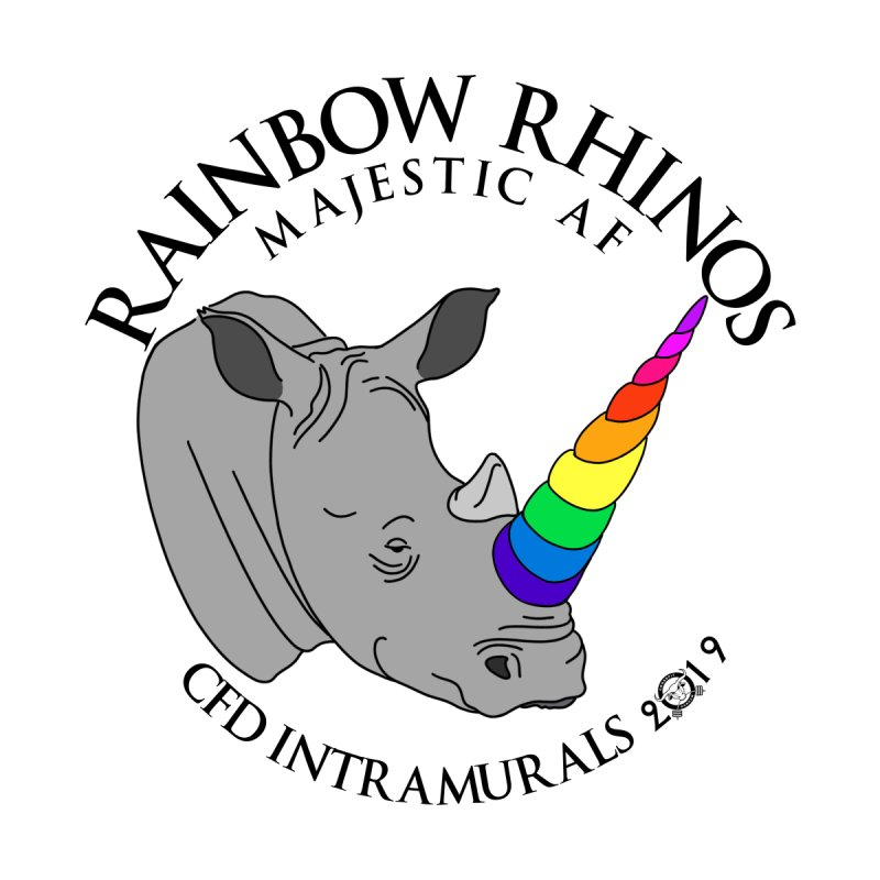 Rainbow Rhinos 1 (CFD Intramurals 2019) Women's T-Shirt by Courage Fitness Durham