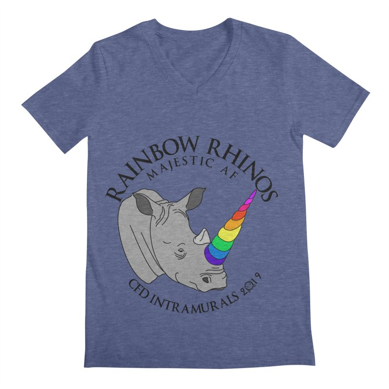 Rainbow Rhinos 1 (CFD Intramurals 2019) Men's Regular V-Neck by CrossFit Durham