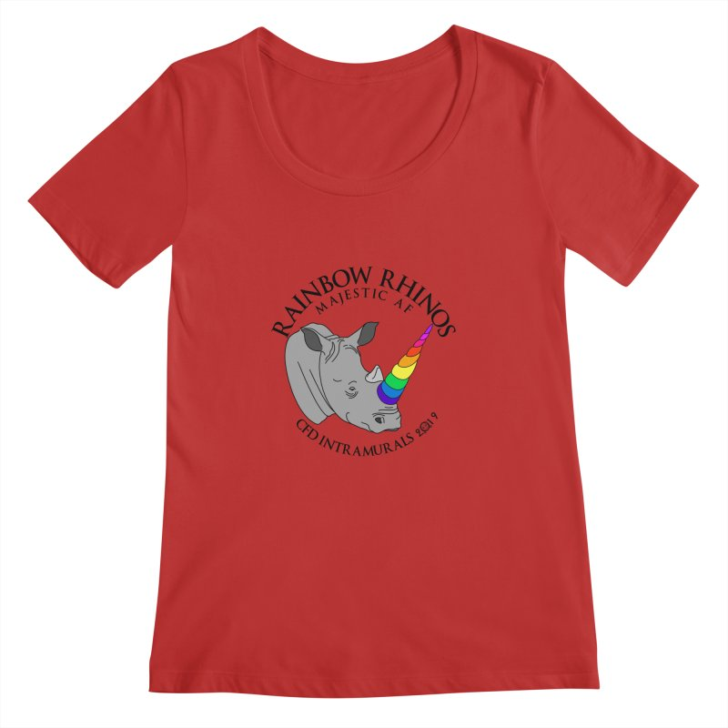 Rainbow Rhinos 1 (CFD Intramurals 2019) Women's Regular Scoop Neck by CrossFit Durham