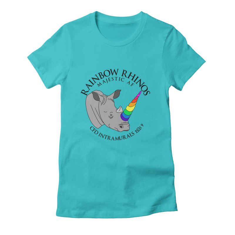 Rainbow Rhinos 1 (CFD Intramurals 2019) Women's Fitted T-Shirt by CrossFit Durham