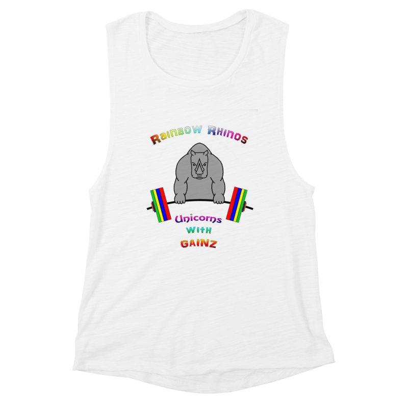 Rainbow Rhinos 2 (CFD Intramurals 2019) Women's Muscle Tank by CrossFit Durham