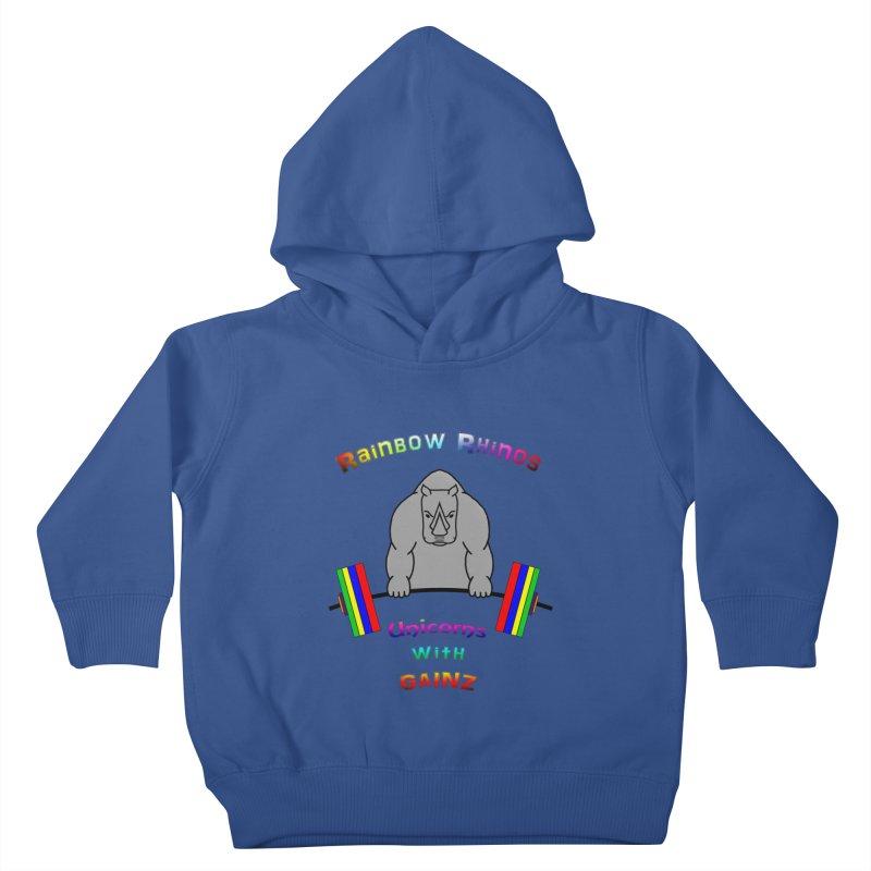Rainbow Rhinos 2 (CFD Intramurals 2019) Kids Toddler Pullover Hoody by CrossFit Durham