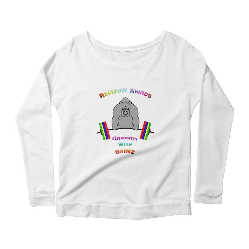Rainbow Rhinos 2 (CFD Intramurals 2019) Women's Scoop Neck Longsleeve T-Shirt by CrossFit Durham