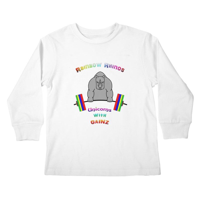 Rainbow Rhinos 2 (CFD Intramurals 2019) Kids Longsleeve T-Shirt by CrossFit Durham