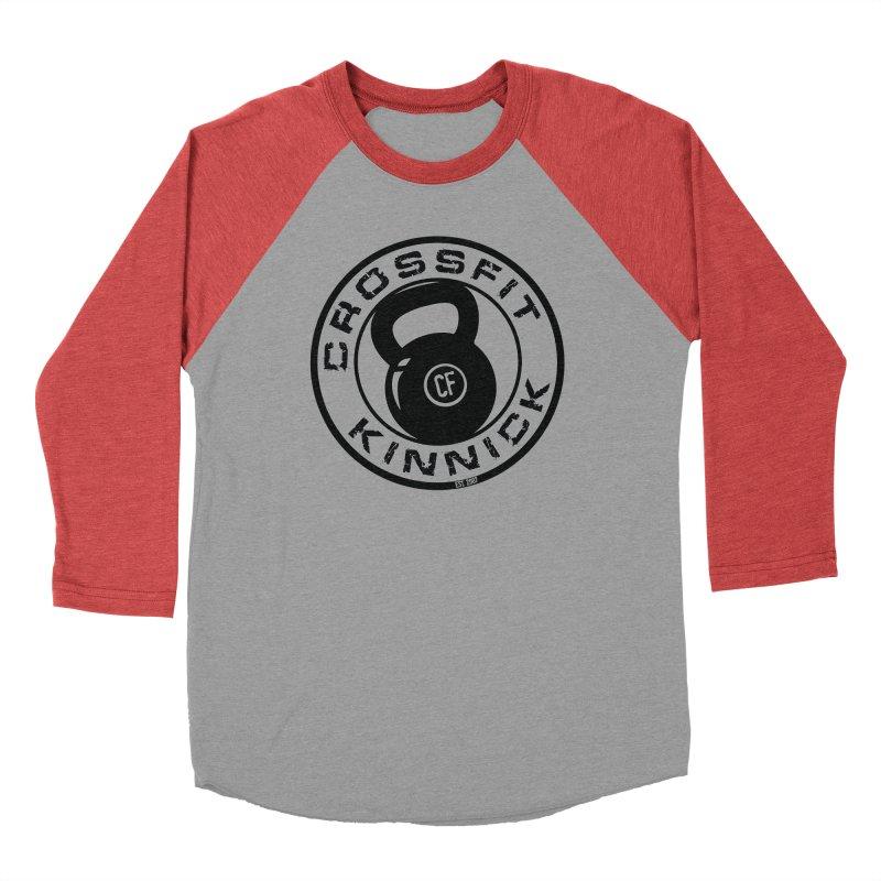 CrossFit Kinnick Kettlebell in Men's Baseball Triblend Longsleeve T-Shirt Chili Red Sleeves by CrossFit Kinnick Apparel