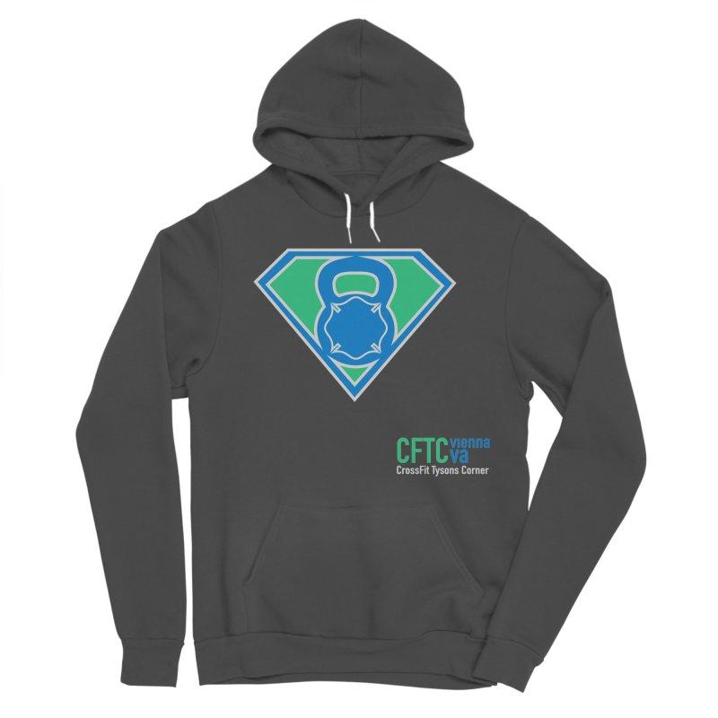 Blue Green CFTC Super Hoodie in Men's Sponge Fleece Pullover Hoody Charcoal by CrossFit Tysons Corner Apparel