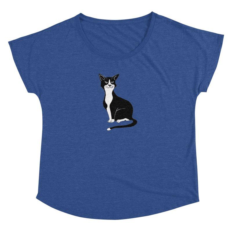 Tuxedo Cat Women's Dolman Scoop Neck by CrowActive