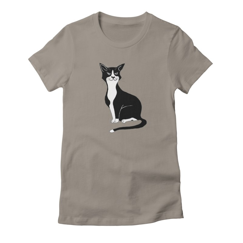 Tuxedo Cat Women's Fitted T-Shirt by CrowActive