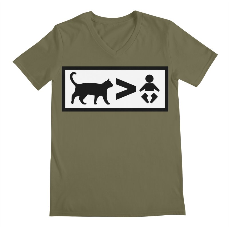 Cats Greater Than Men's Regular V-Neck by CrowActive