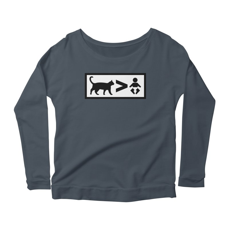 Cats Greater Than Women's Longsleeve Scoopneck  by CrowActive