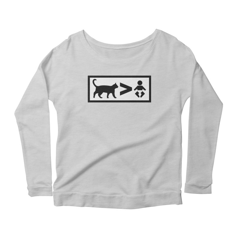 Cats Greater Than Women's Scoop Neck Longsleeve T-Shirt by CrowActive