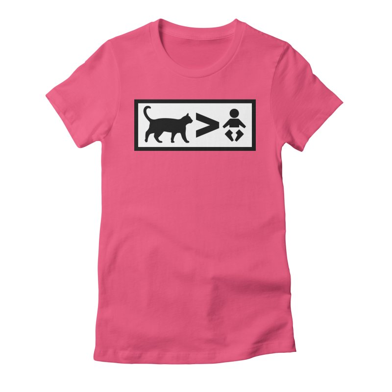 Cats Greater Than in Women's Fitted T-Shirt Fuchsia by CrowActive