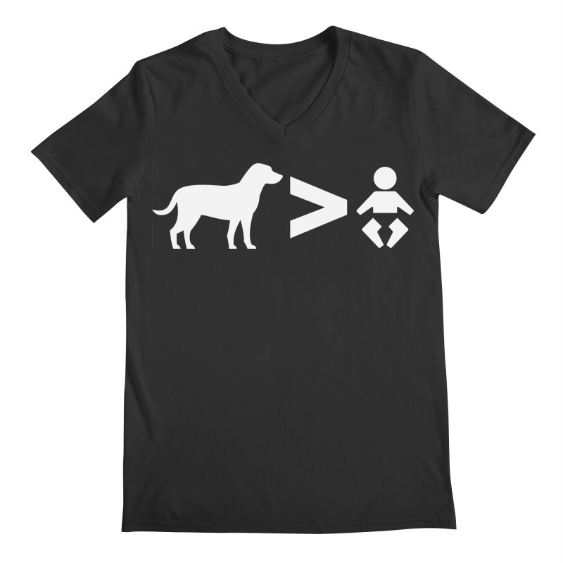 Dogs Greater Than (White) Men's Regular V-Neck by CrowActive