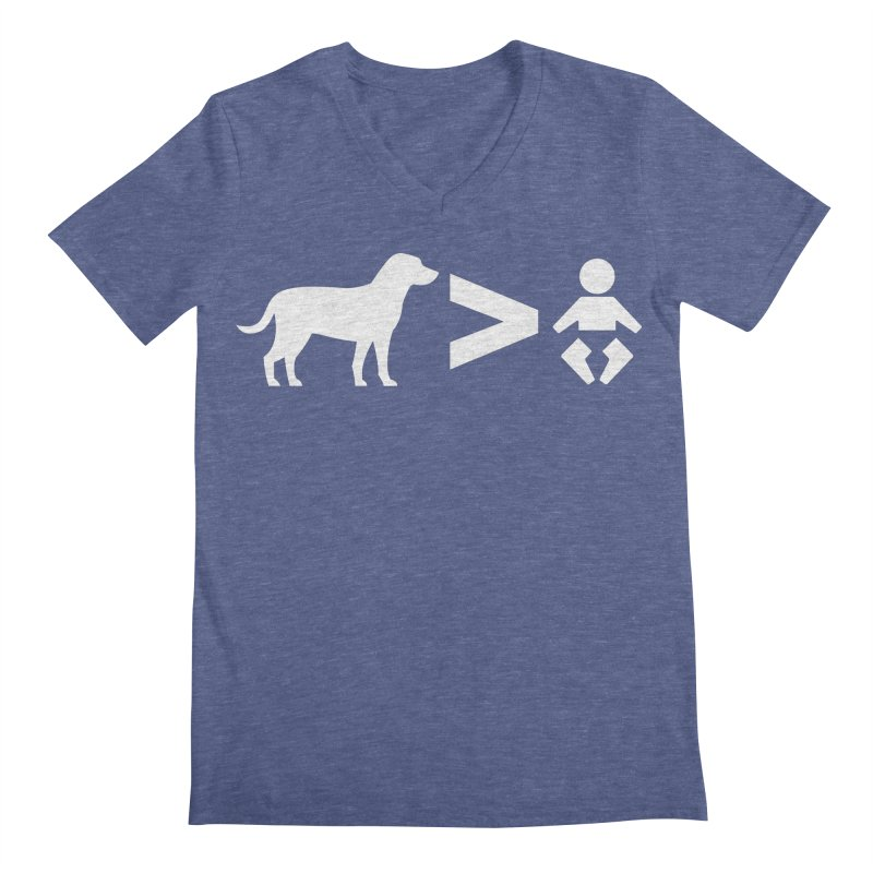 Dogs Greater Than (White) Men's V-Neck by CrowActive