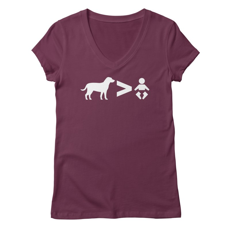 Dogs Greater Than (White) Women's V-Neck by CrowActive