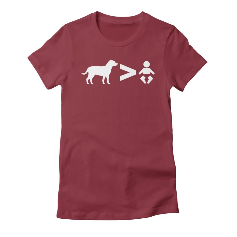 Dogs Greater Than (White) in Women's Fitted T-Shirt Scarlet Red by CrowActive