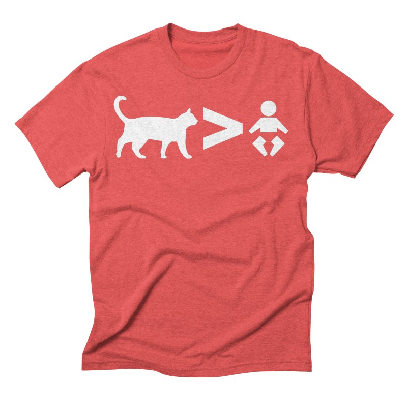 Cats Greater Than (White) Men's T-Shirt by CrowActive