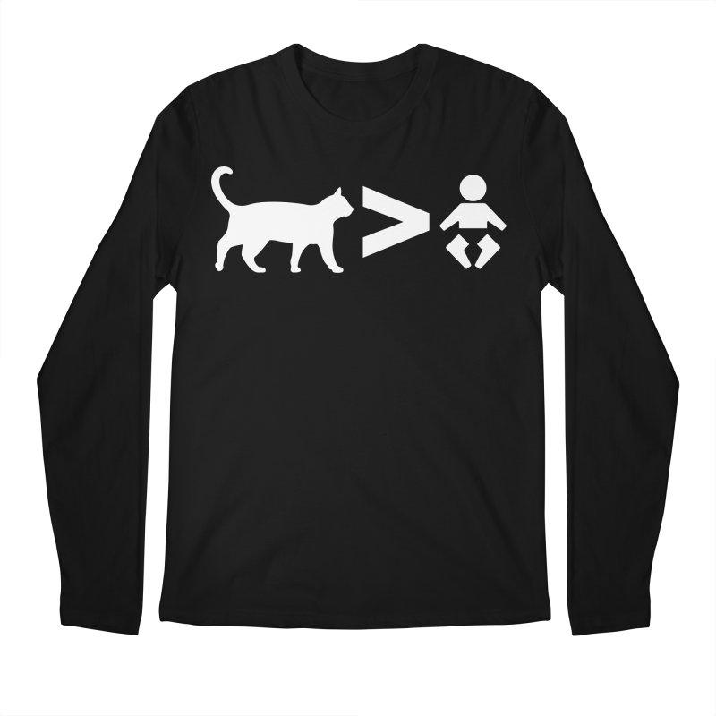 Cats Greater Than (White) Men's Regular Longsleeve T-Shirt by CrowActive