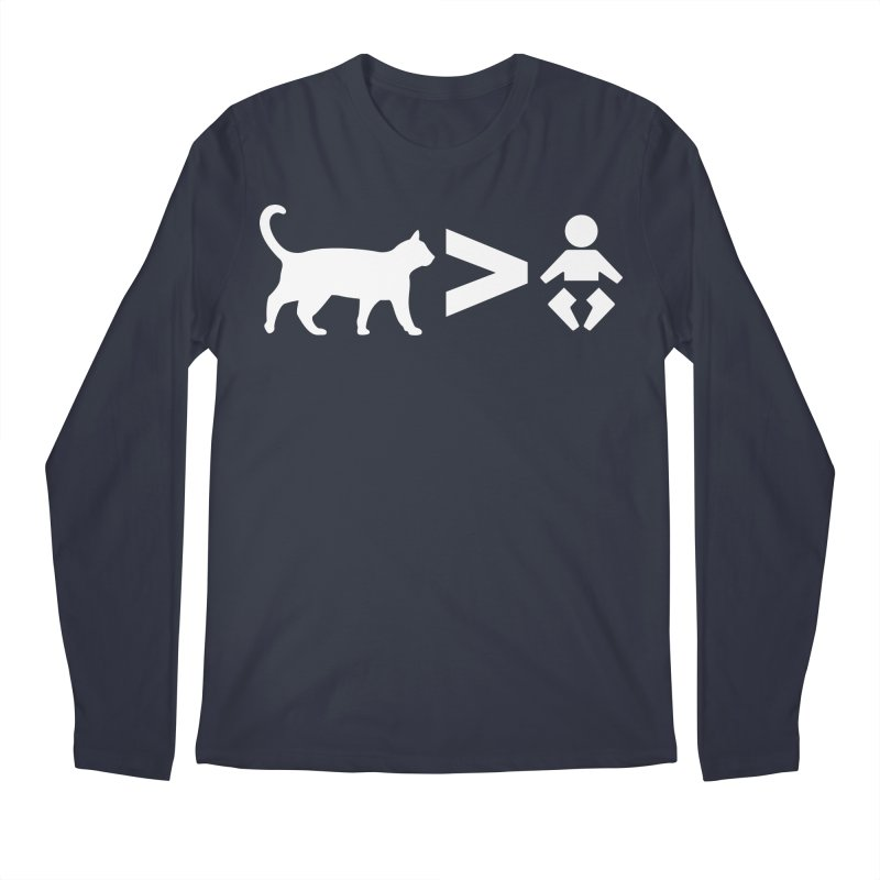 Cats Greater Than (White) Men's Longsleeve T-Shirt by CrowActive