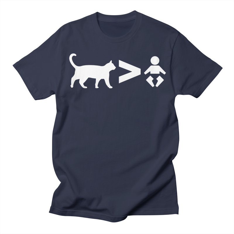 Cats Greater Than (White) in Men's Regular T-Shirt Navy by CrowActive