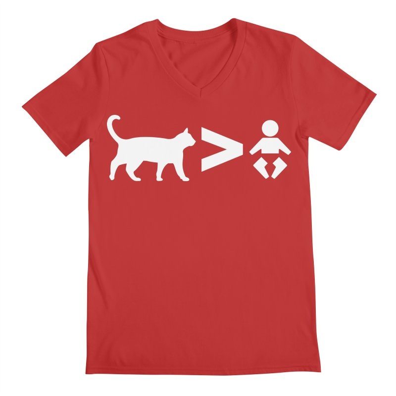 Cats Greater Than (White) Men's Regular V-Neck by CrowActive