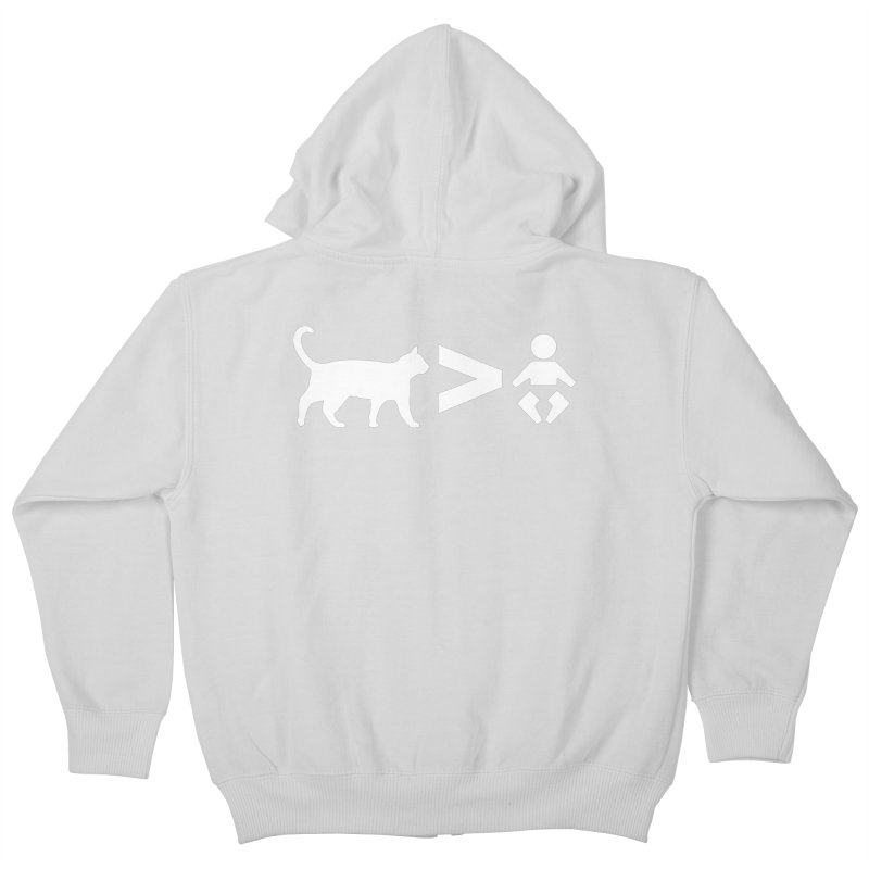 Cats Greater Than (White) Kids Zip-Up Hoody by CrowActive