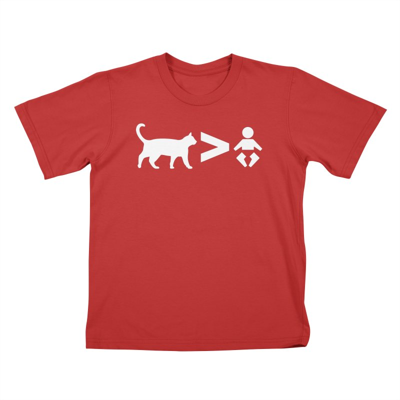 Cats Greater Than (White) Kids T-Shirt by CrowActive