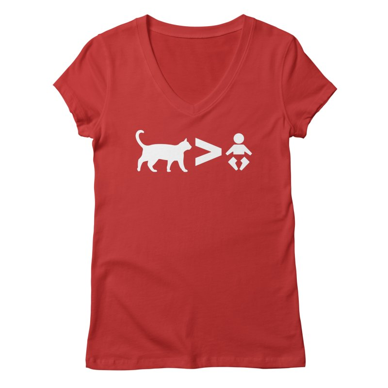 Cats Greater Than (White) Women's Regular V-Neck by CrowActive