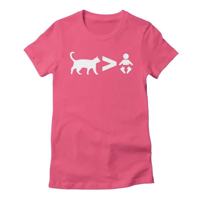 Cats Greater Than (White) Women's Fitted T-Shirt by CrowActive