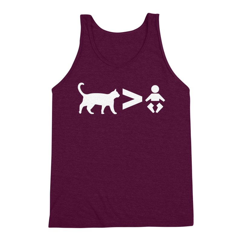 Cats Greater Than (White) Men's Triblend Tank by CrowActive