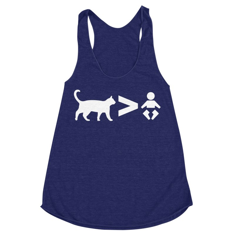 Cats Greater Than (White) Women's Racerback Triblend Tank by CrowActive