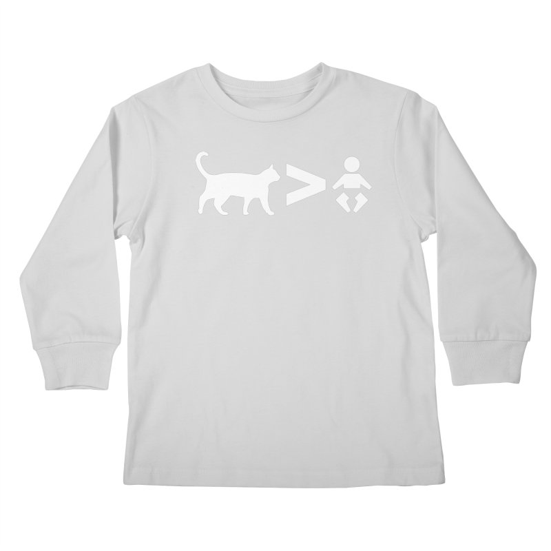 Cats Greater Than (White) Kids Longsleeve T-Shirt by CrowActive