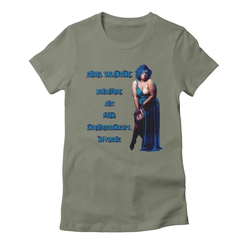 Cruel Valentine No Fucks Pin Up Women's Fitted T-Shirt by Cruel Valentine
