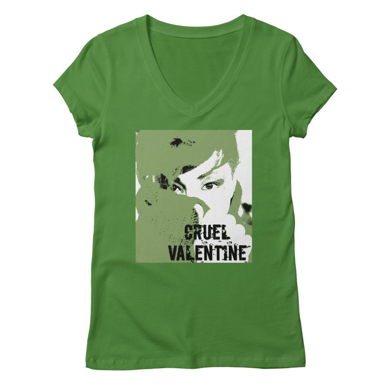 "Cruel Valentine ""Forget Me Not"" in Green Women's Regular V-Neck by Cruel Valentine"