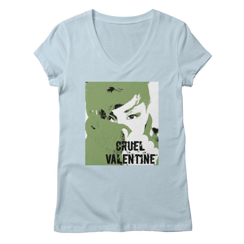 """Cruel Valentine """"Forget Me Not"""" in Green Women's Regular V-Neck by Cruel Valentine"""
