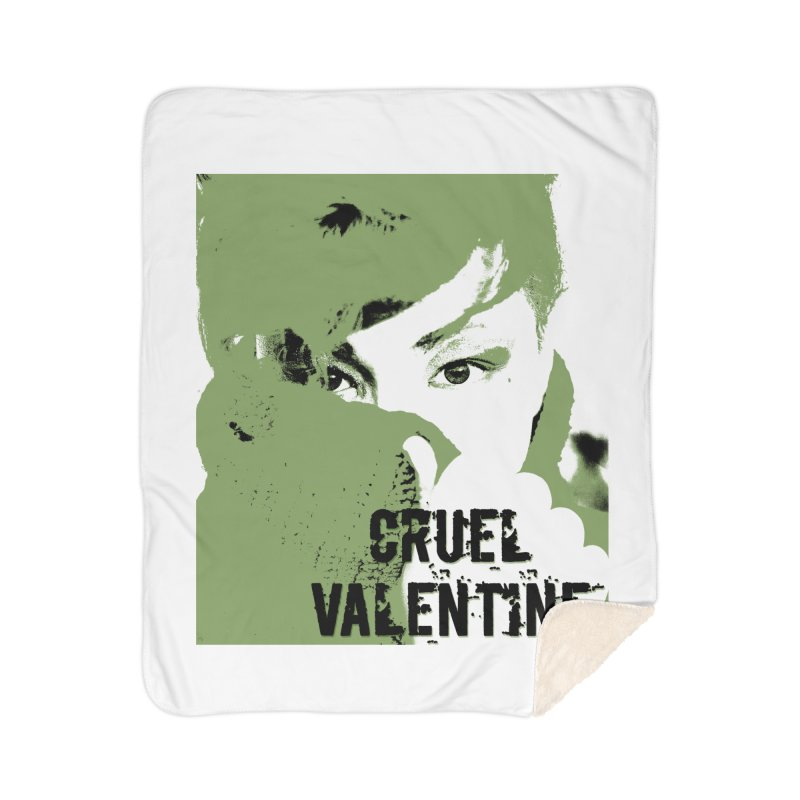 """Cruel Valentine """"Forget Me Not"""" in Green Home Sherpa Blanket Blanket by Cruel Valentine"""