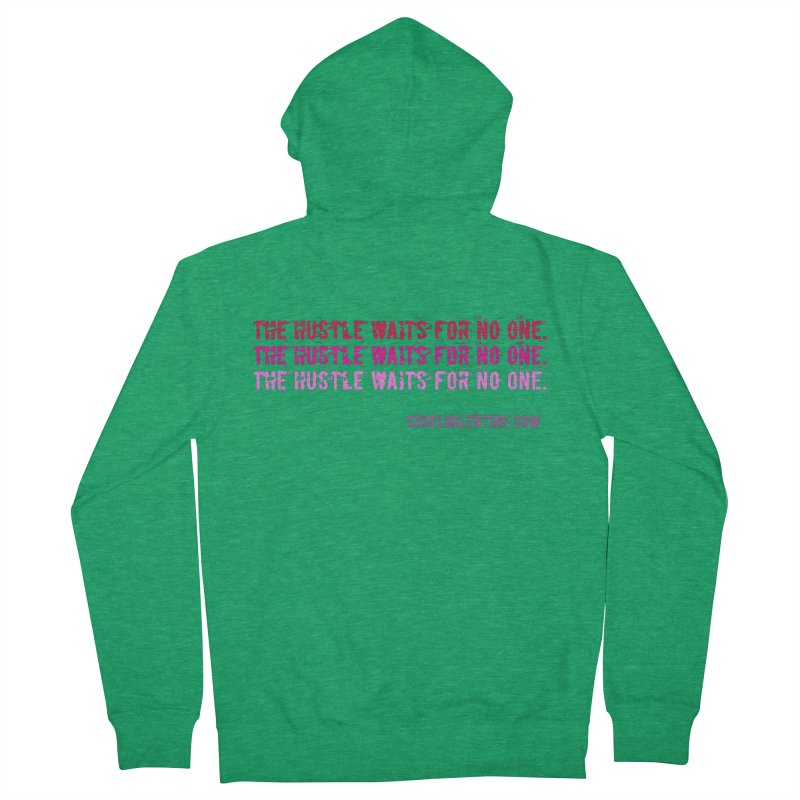 The Hustle Waits for No One - Pink Men's Zip-Up Hoody by Cruel Valentine