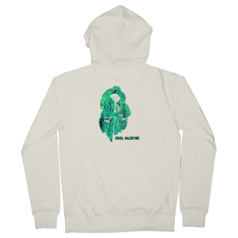Vulva #34 in Green Women's French Terry Zip-Up Hoody by Cruel Valentine