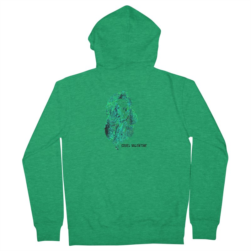 Vulva #34 in Green Men's French Terry Zip-Up Hoody by Cruel Valentine