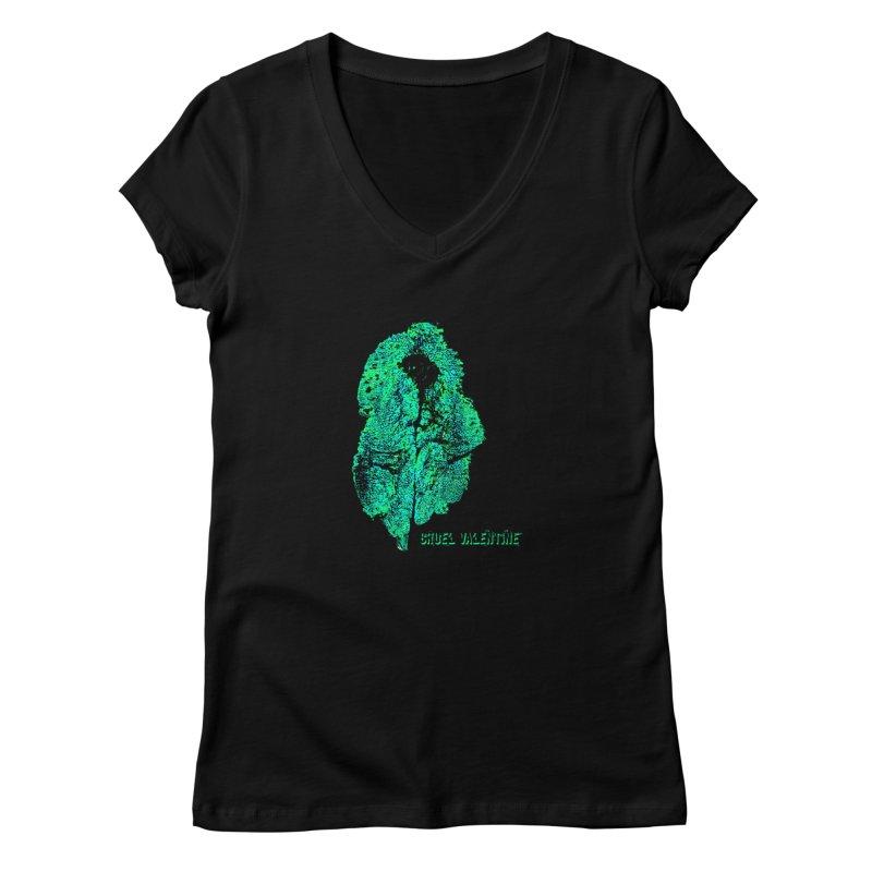 Vulva #34 in Green Women's V-Neck by Cruel Valentine
