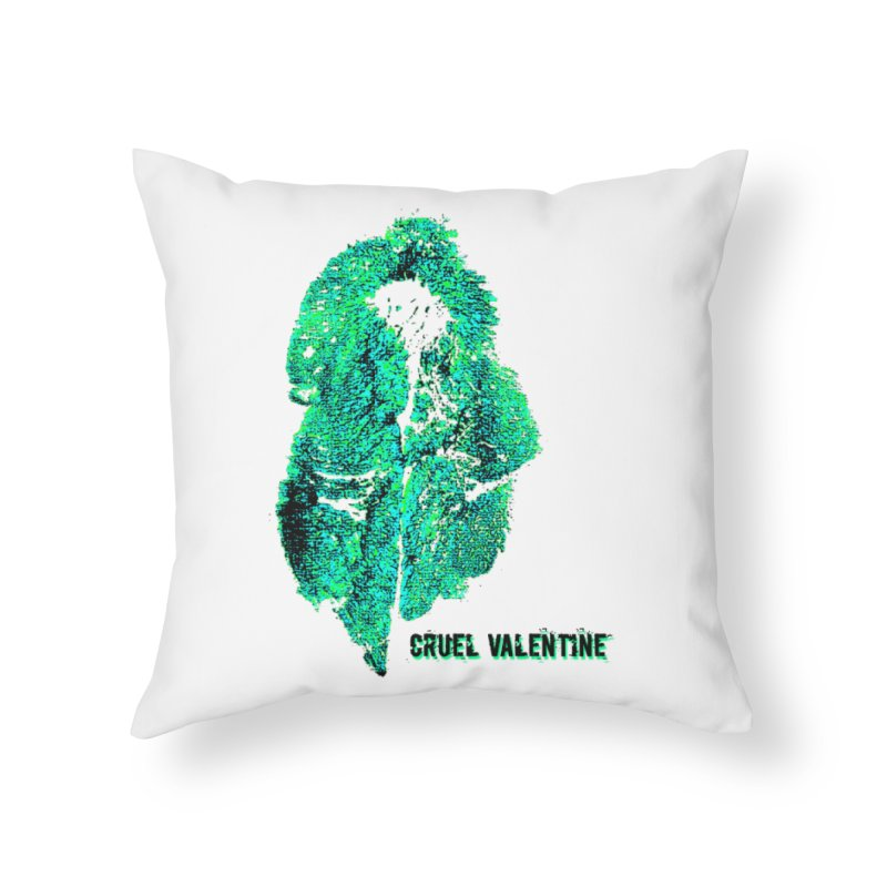 Vulva #34 in Green Home Throw Pillow by Cruel Valentine