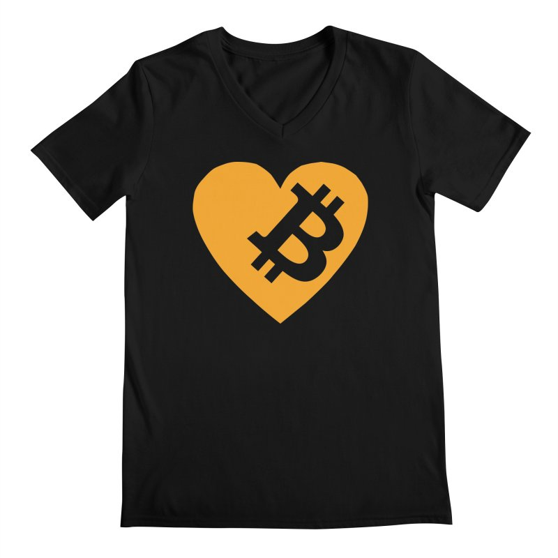 Love Bitcoin Men's Regular V-Neck by Crypt0 Clothing Shop