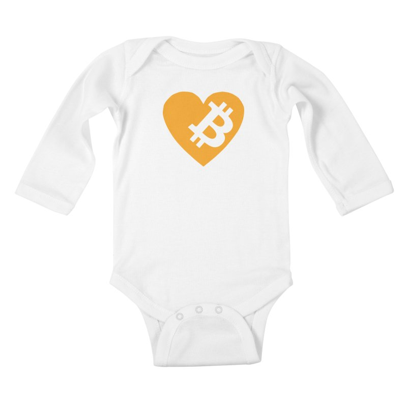 Love Bitcoin Kids Baby Longsleeve Bodysuit by Crypt0 Clothing Shop