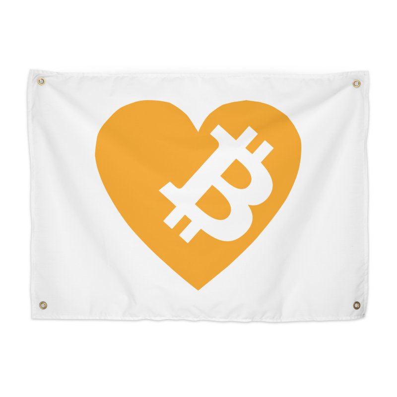 Love Bitcoin Home Tapestry by Crypt0 Clothing Shop