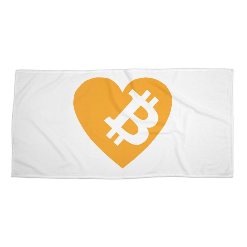 Love Bitcoin Accessories Beach Towel by Crypt0 Clothing Shop