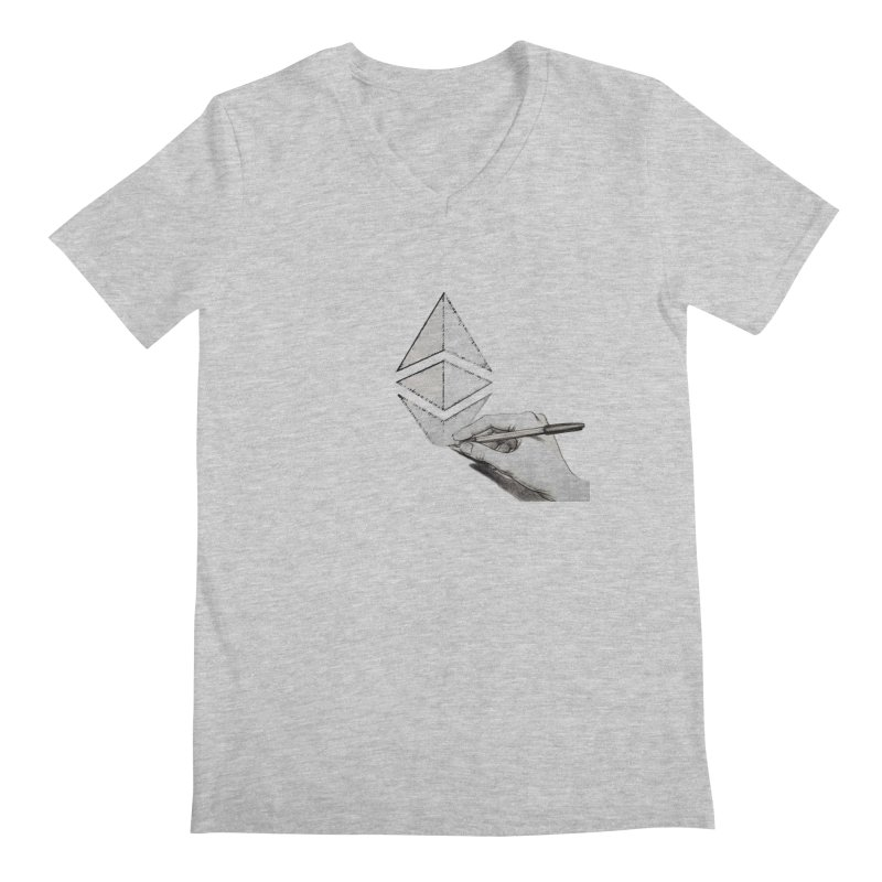 Ethereum Sketch Men's Regular V-Neck by Crypt0 Clothing Shop