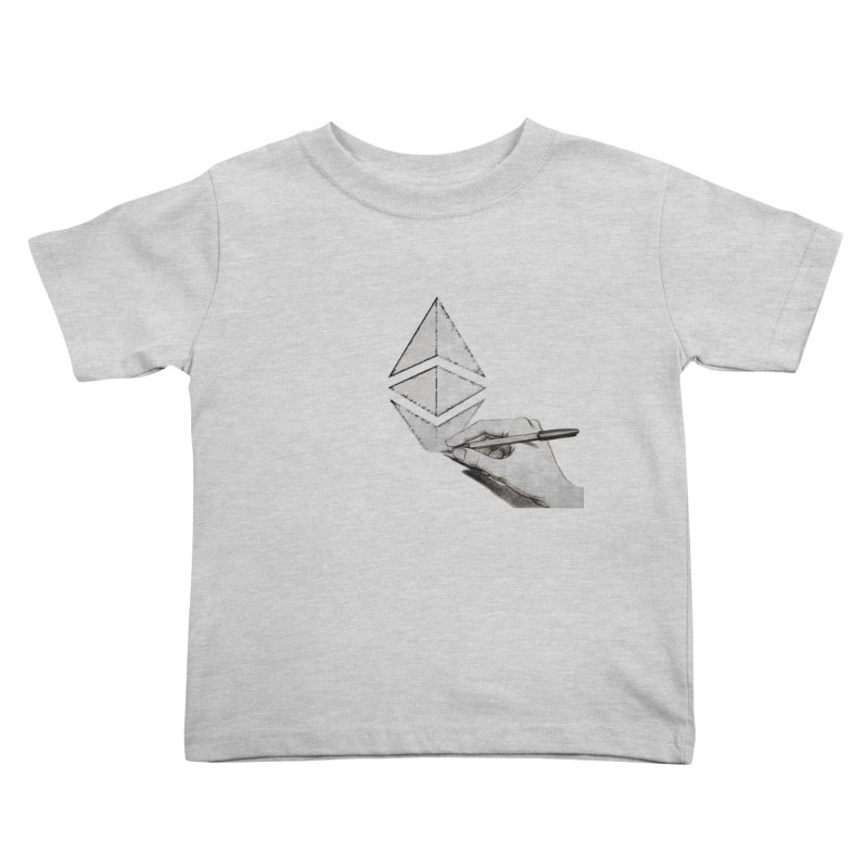 Ethereum Sketch Kids Toddler T-Shirt by Crypt0 Clothing Shop