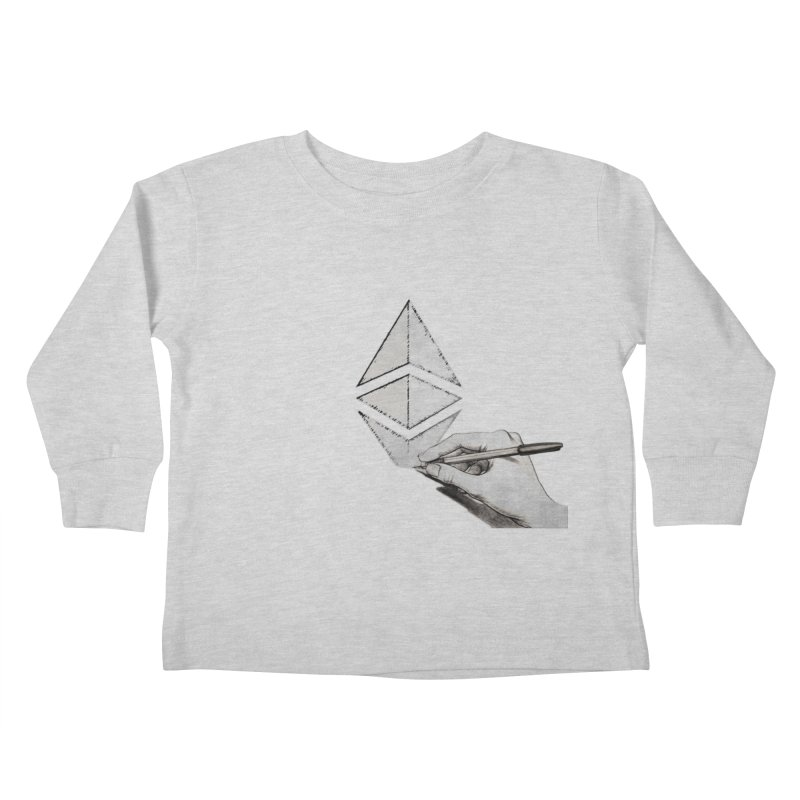 Ethereum Sketch Kids Toddler Longsleeve T-Shirt by Crypt0 Clothing Shop
