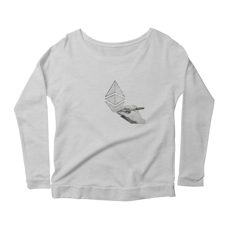Ethereum Sketch Women's Scoop Neck Longsleeve T-Shirt by Crypt0 Clothing Shop