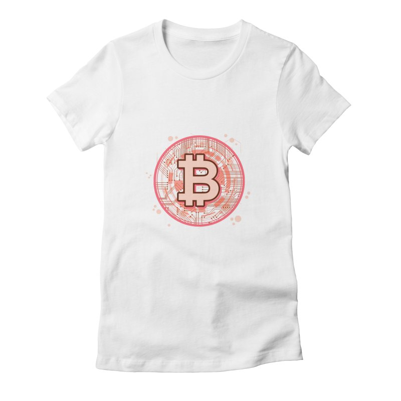 Bitcoin Red Women's Fitted T-Shirt by Crypt0 Clothing Shop